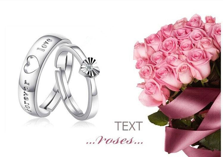 Anneaux de couple de bijoux en argent sterling 925 avec strass ouvrant la bague réglable d'amoureux pour les femmes et les hommes