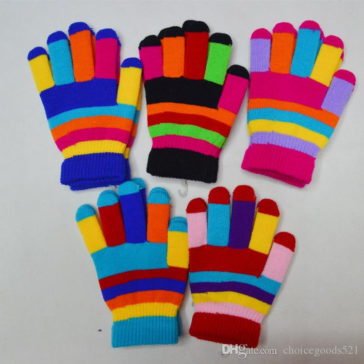 83c0581ec4a7 Autumn Winter Kids Knitted Gloves Boys Girls Colorful Stripe Warm ...