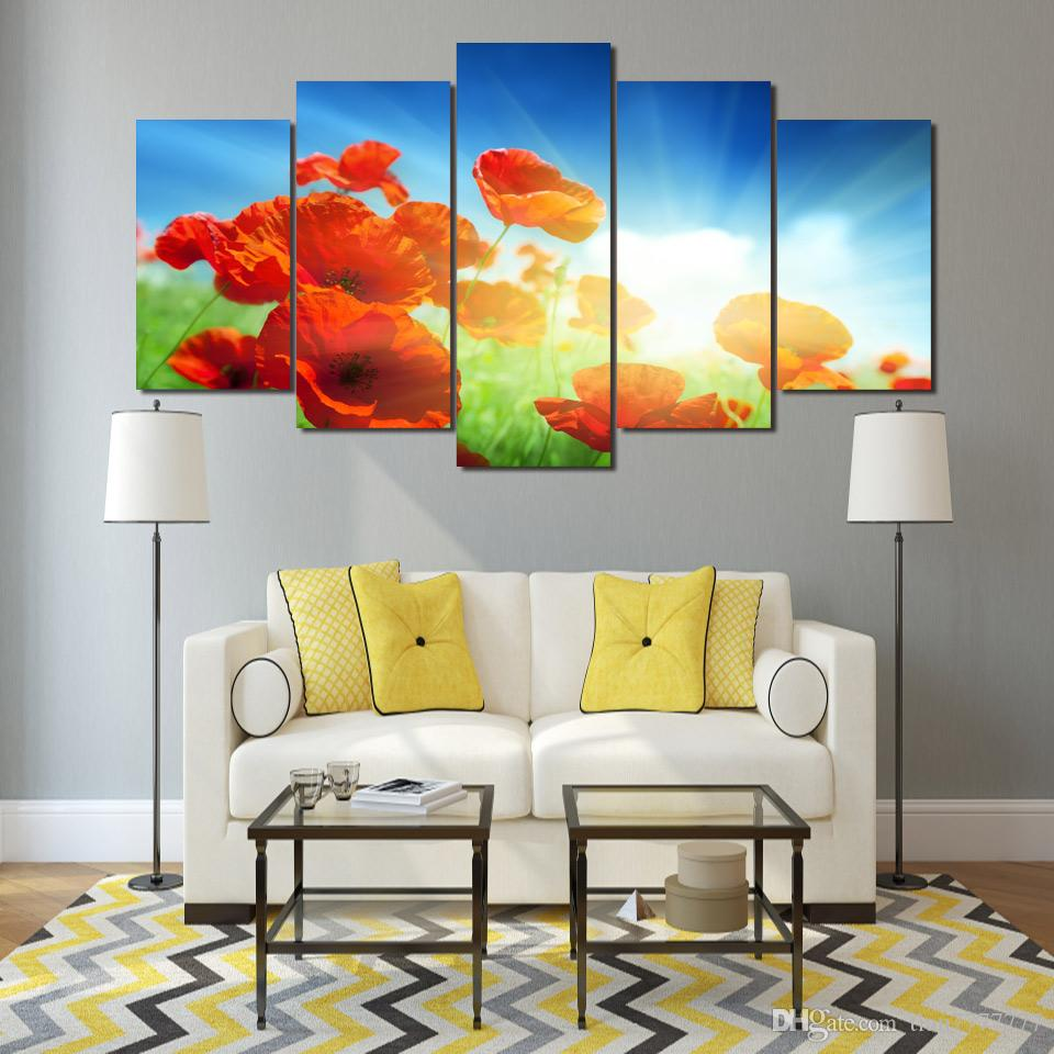 Unframed 5 Panel Red Flowers Group Paintings on Canvas Modern Art Print Poster Wall Picture Home decorations