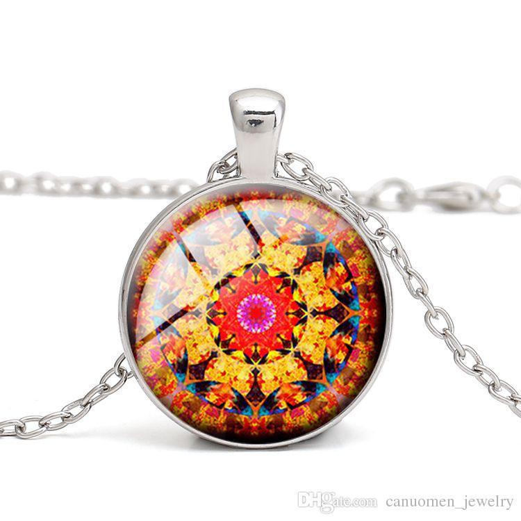 Fatti a mano fai da te nuovi fiori colorati mandala vintage donne collana pendente regalo dei bambini all'ingrosso di vetro cabochon gioielli accessorio di vestiti