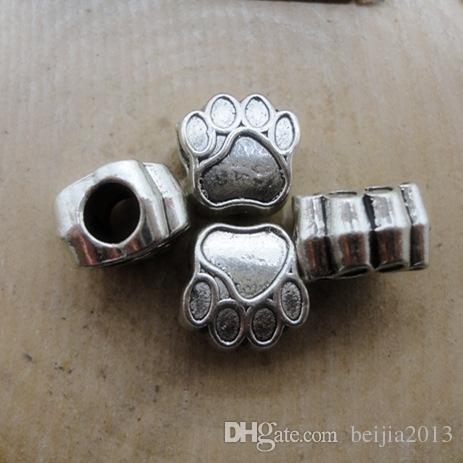 Pärla kepsar 40st Antik Silver Tone Bear's Paw Charm Pärlor passar europeiskt armband 11x11mm