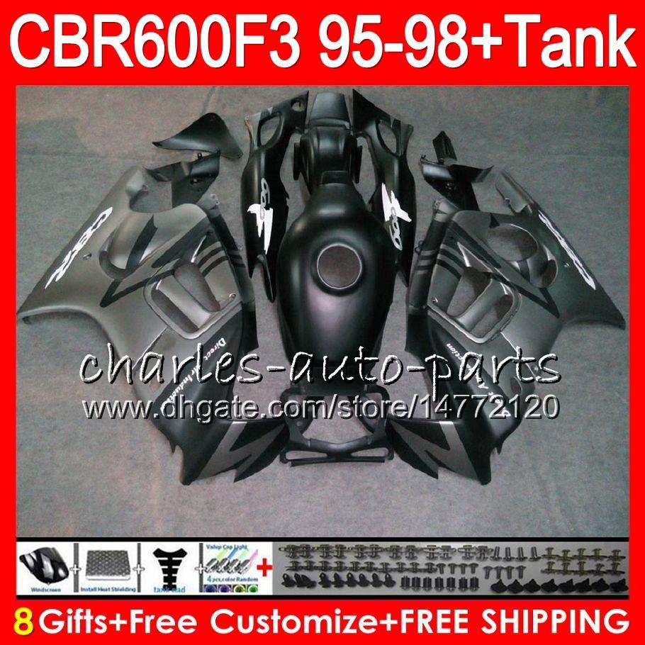 8Gifts For HONDA CBR600F3 95 96 97 98 CBR600RR FS matte silver 2HM22 CBR600 F3 600F3 CBR 600 F3 1995 1996 1997 1998 silver Fairing