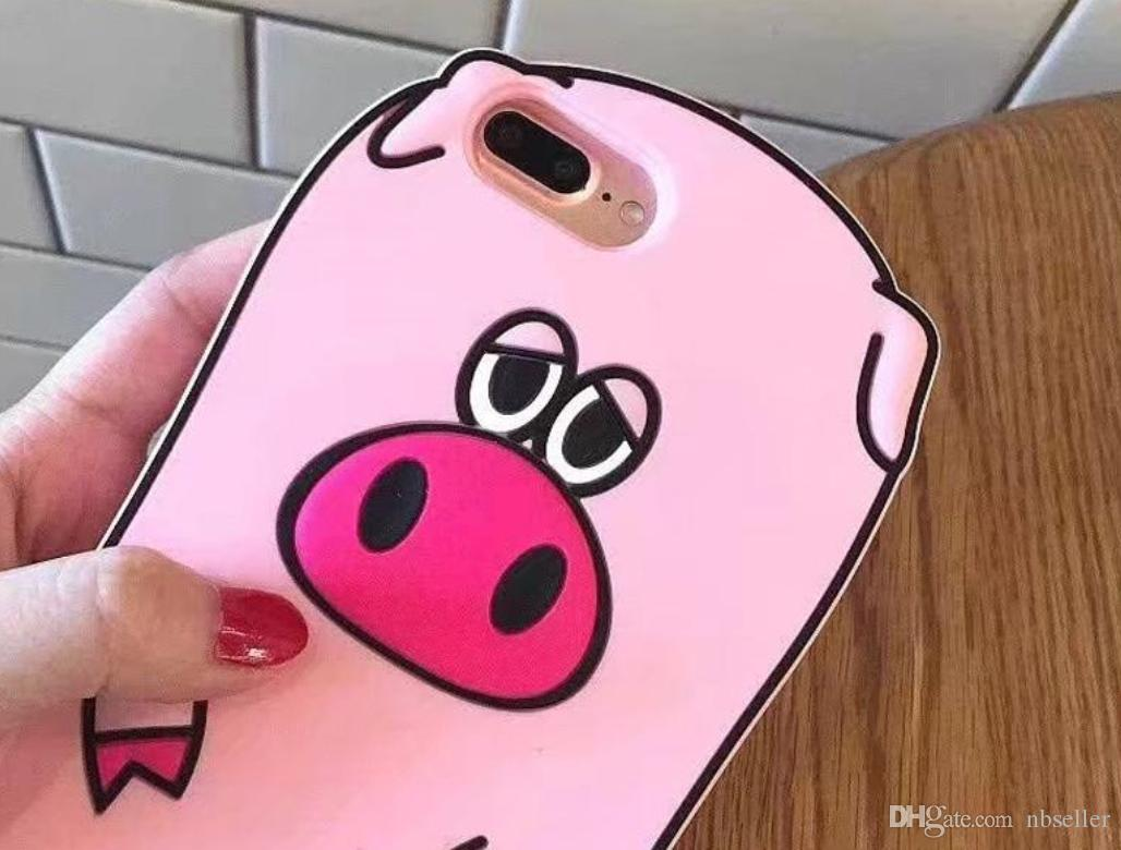 3D Cartoon Piggy Soft Rubber Case For iPhone 6s 6Plus 7 Plus Silicone Funny Back Cover Coque Capa Cute Pink Pig Soft Case