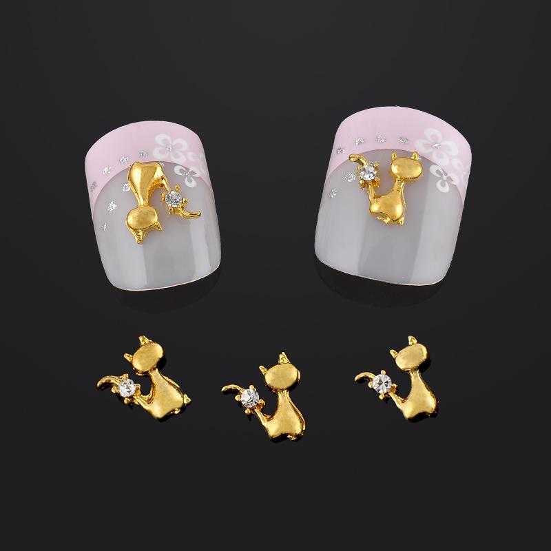 Wholesale-  pack Lovely Gold Cat Nail Art Decorations Glitter ... 75d4d63c2