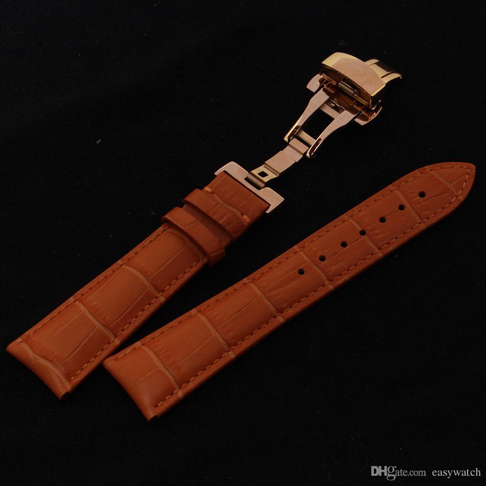 ffd3d0185411 Correa de cuero genuino de alta calidad de oro mariposa hebilla broche  relojes accesorios correa de color naranja para hombre para mujer reloj de  ...