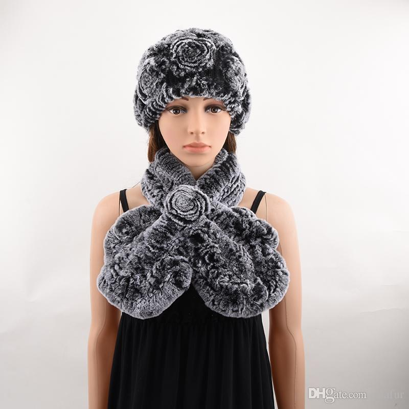 2019 Hat And Scarf Set Of Natural Rex Rabbit Fur Women Knitted Flower For  Winter fb056f06765