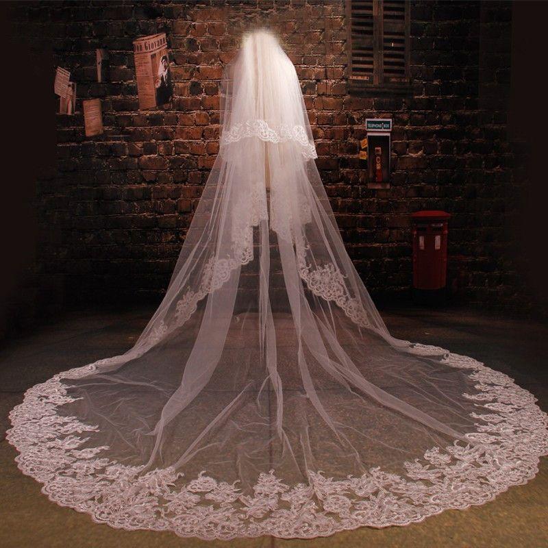 Two Layer Bling Sequins Lace Edge 3 Meters Wedding Veils White Ivory Bridal Veil For Wedding Dress Velos De Novia