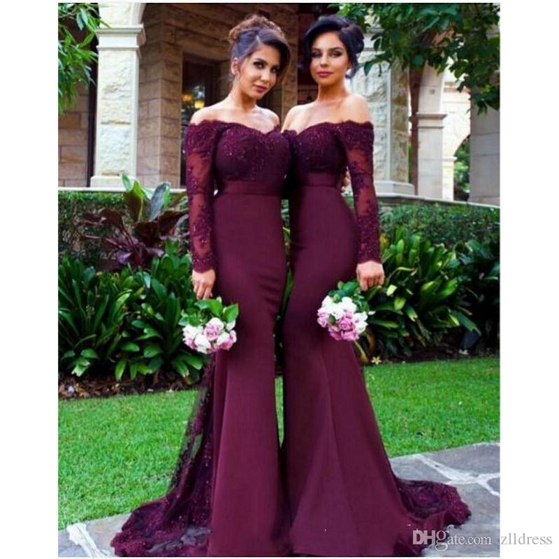 2017 Red Wine Bridesmaid Dresses Off Shoulder Long Sleeves Mermaid ...