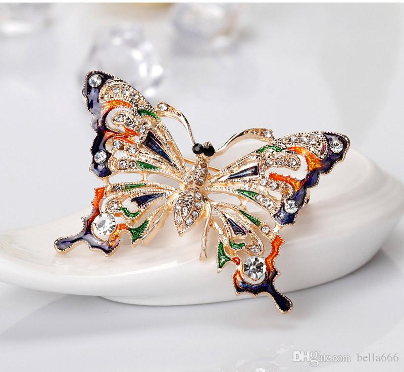 Nova Europa América Retro Feminino Strass Esmalte Pintado Borboleta Colorida Broches Pin Girl Ornaments Corsage Jóias Por Atacado