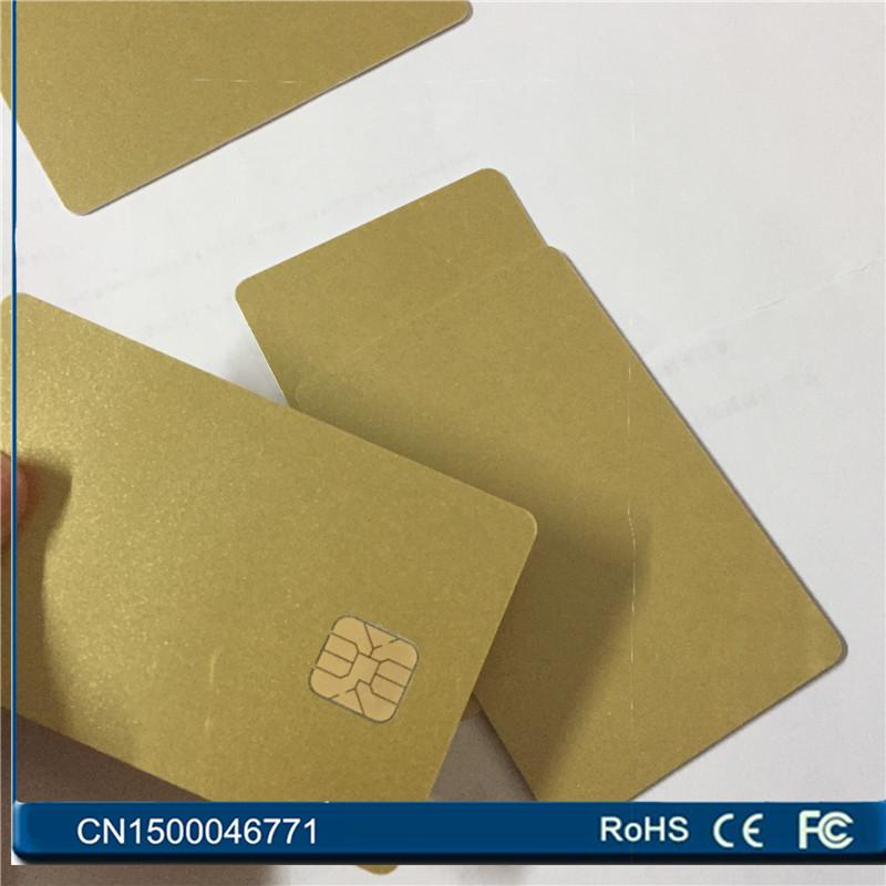 e0464a7e9af38 Wholesale- 100PCS/Lot PVC blank SLE4428 gold card Contact ISO7816 big chip  SmartCard For Access Control Free Shipping