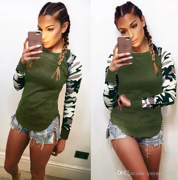 الخريف طويلة الأكمام خليط المرأة طباعة تي شيرت س الرقبة التمويه الزى زائد الحجم 5xl أعلى قمزة 2017 الإناث عارضة الملابس nx