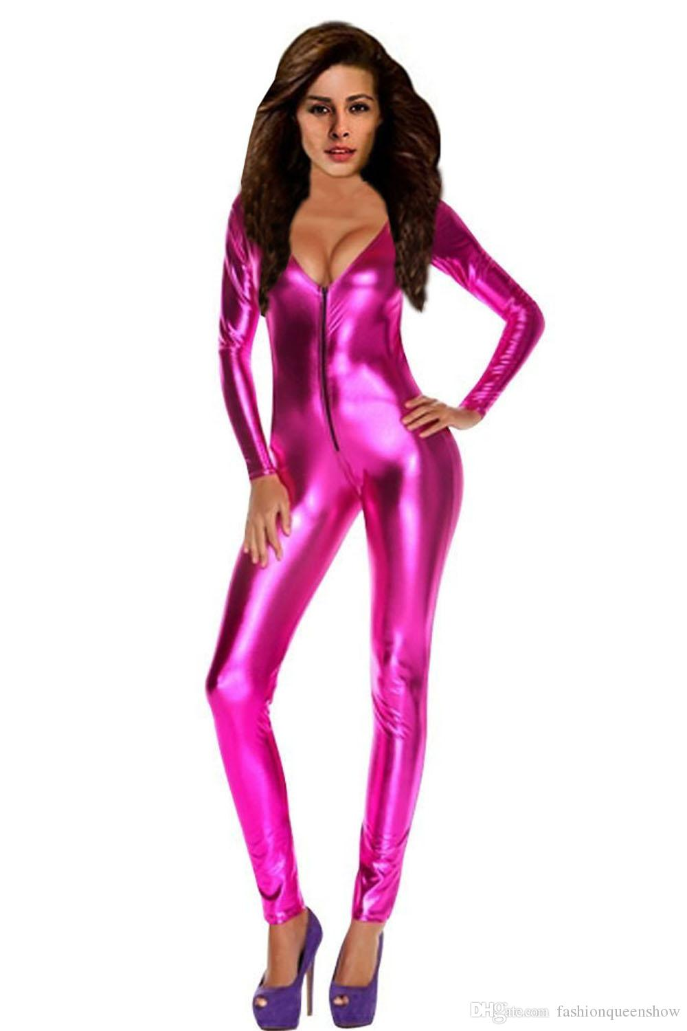 Silver Gold Blue Pink Sexy Women Exotic Deep V Neck Catsuit Jumpsuit Long Sleeve Zipper Bodysuit Nightclub Dancer Costumes Pole Dancing