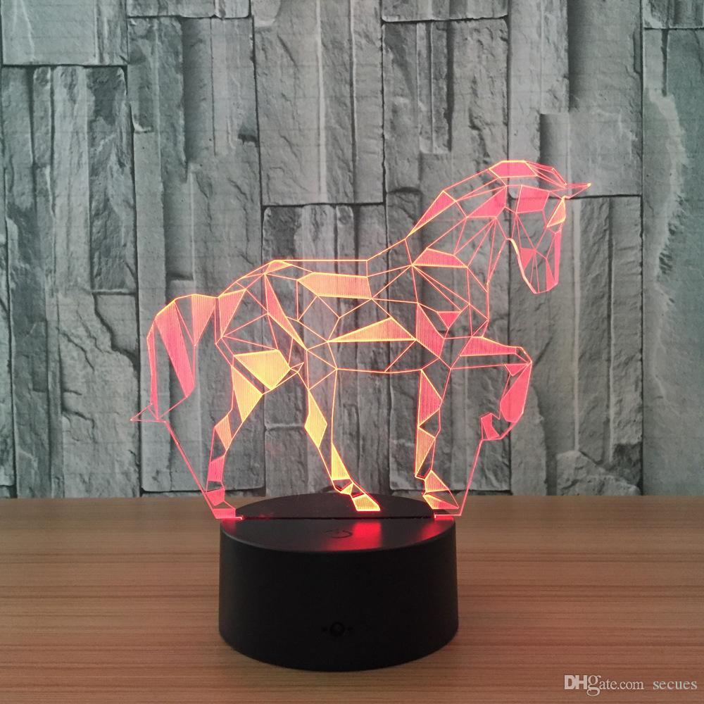 3D Zebra Illusion Night Lamp 7 RGB Colorful Lights USB Powered with Battery Bin Touch Button Wholesale Dropshipping