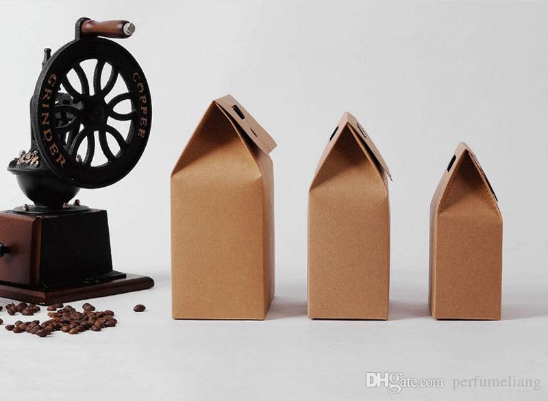 10 * 6 * 15.3 cm Regalo Kraft Caja Craft Bag con Mango Jabón Dulce Panadería Galletas Galletas Embalaje Cajas de papel Envío Gratis ZA3918