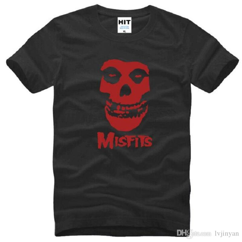 Summer Style The MISFITS T Shirts Men Cotton Short Sleeve Skull Printed Men's T-Shirt Fashion HARDC0RE Punk Music Rock Top Tees