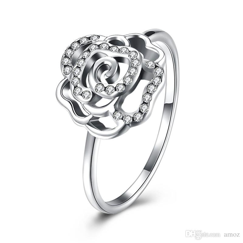 2018 925 Sterling Silver Rose Shaped Ring Cz Eternity Engagement Wedding  Band For Women From Amoz, $10.56 | Dhgate.Com