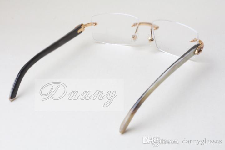 Новые бескаркасные квадратные алмазные рамы, T8100905 белые линзы, природные смешанные рога, зеркальные ноги, eyeglassessize: 56-18-140mm рамки для