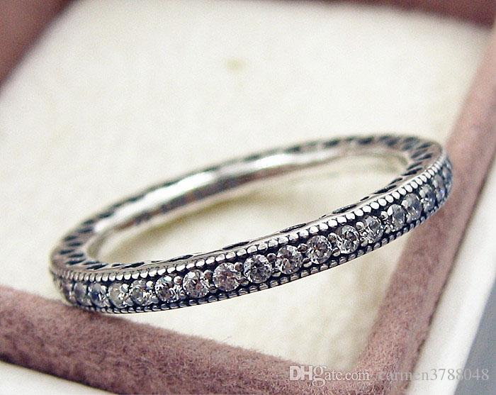 S925 ale steriling silver ring full AAA zircon rhinestone crystal rings with box valentine's day