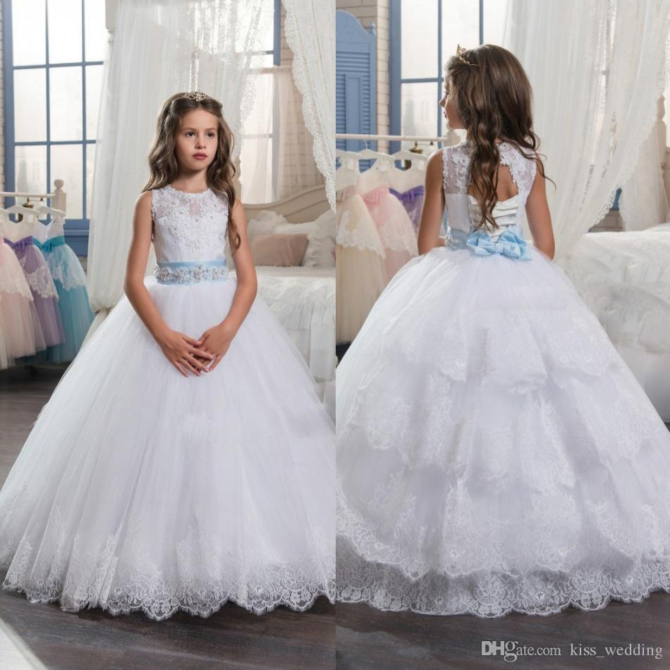 High Quality White Flower Grils Dresses For Weddings With Diamond