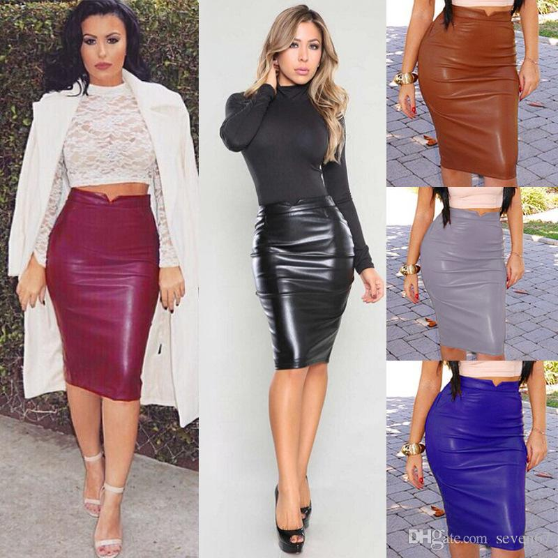 2019 2017 Summer Fashion Pu Hp Skirt Women Faux Leather