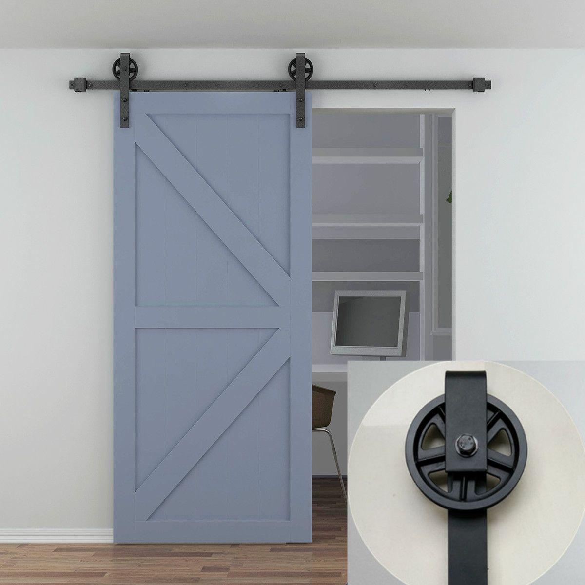 Home Improvement Building Supplies 10ft Euro Stainless Steel Single Sliding Barn Wood Door Closet Hardware Roller Track Set Kit Lovely 5ft