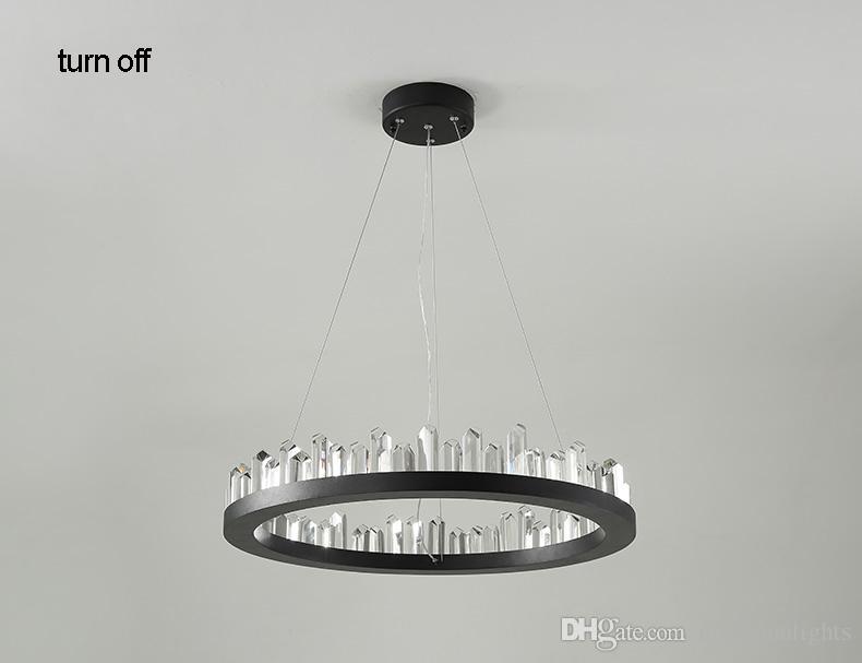 LED Işık Modern Kristal Avize Amerikan Yuvarlak Avizeler Işıklar Fikstürü Yemek Oturma Odası Salonu Ev Kapalı Aydınlatma 3 Yıl Garanti