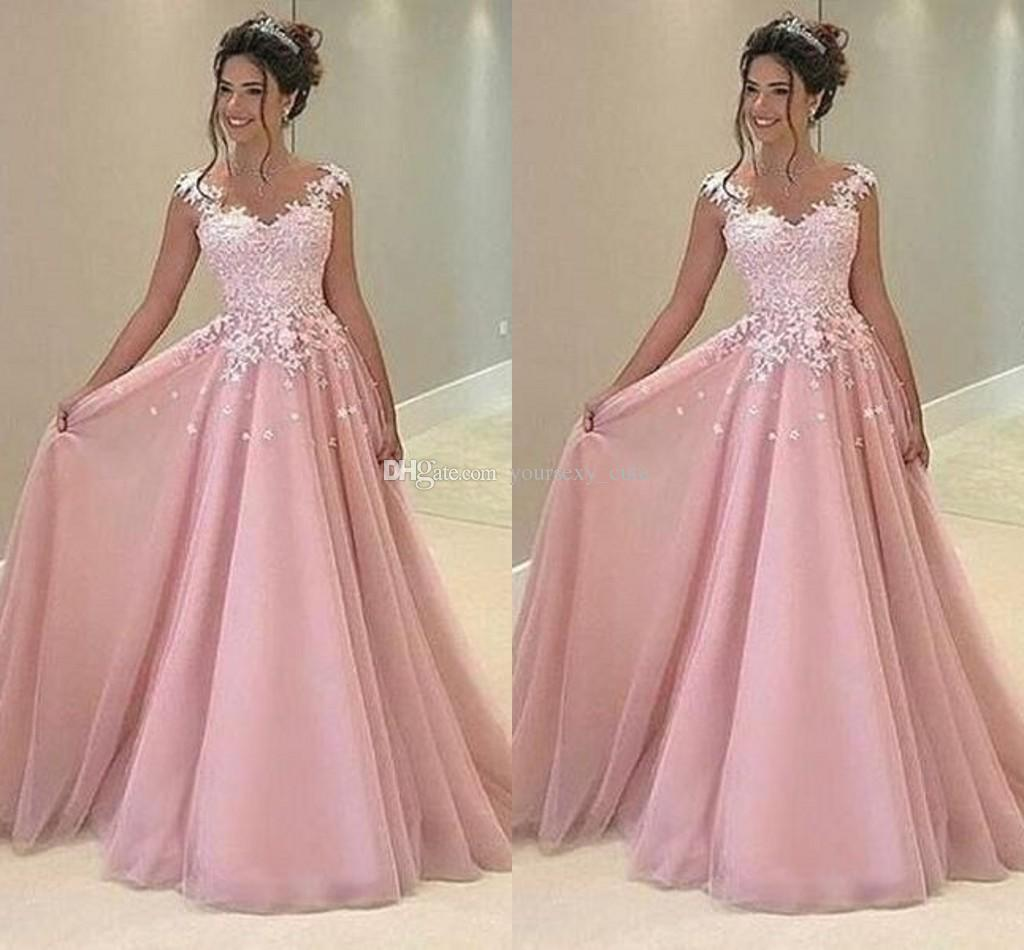 Rose Pink Arabic Prom Dresses V Neck Appliques Lace Chiffon Satin