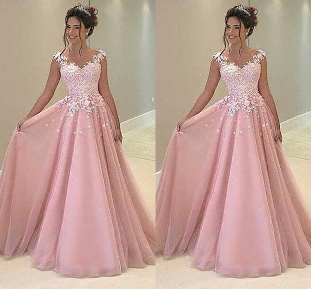 Acheter Rose Rose Arabe Robes De Bal V Cou Appliques