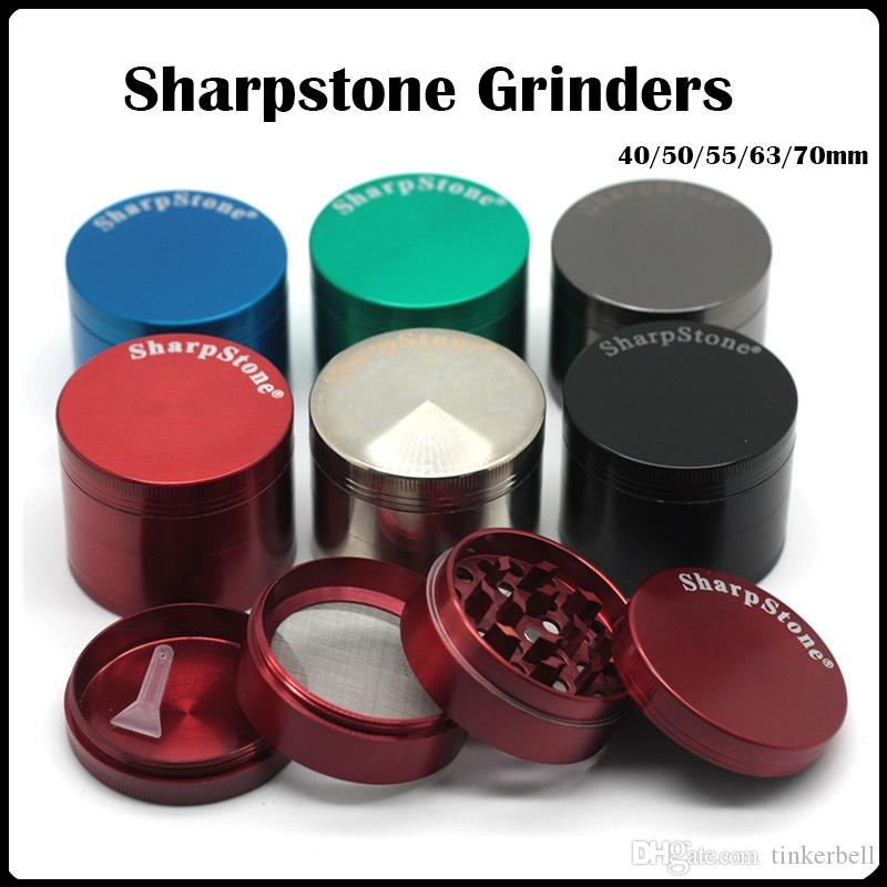 Sharpstone Grinders 40/50/55/63 / 75mm Big Grinder 4Layers Sharp piedra Grinder Herb tabaco 6 color OEM Con / No Logo