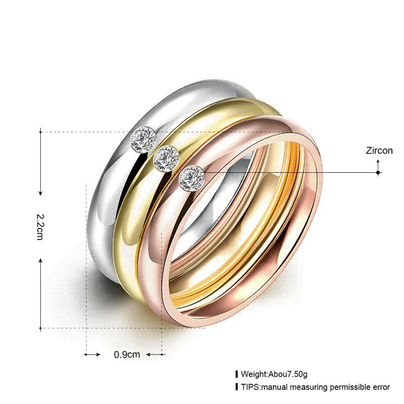 Zircon 316l Stainless Steel Wedding Rings For Women Gold Plated ...