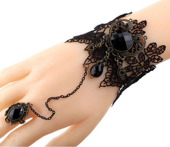Vintage Lace Armband runden schwarzen Edelstein Gothic Armband handgemachtes Geschenk