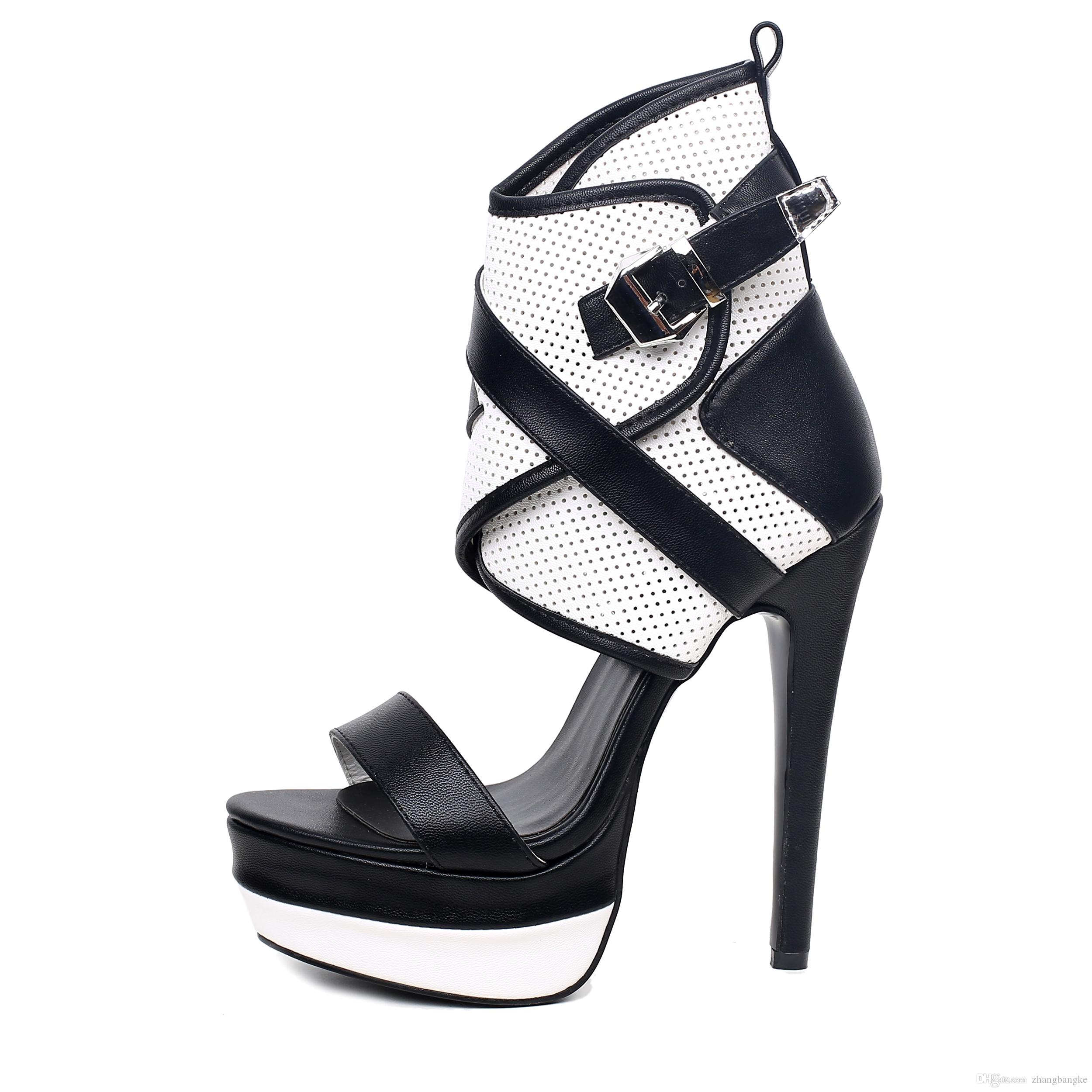 new summer fashion black cut-out women sandals high heel shoes big us size4-12.5