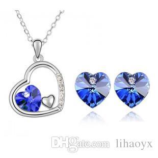 hochwertige Kristall Diamant Anhänger Halskette und Ohrringe Sets eine Vielzahl von Stilen für Frauen Schmuck-Set