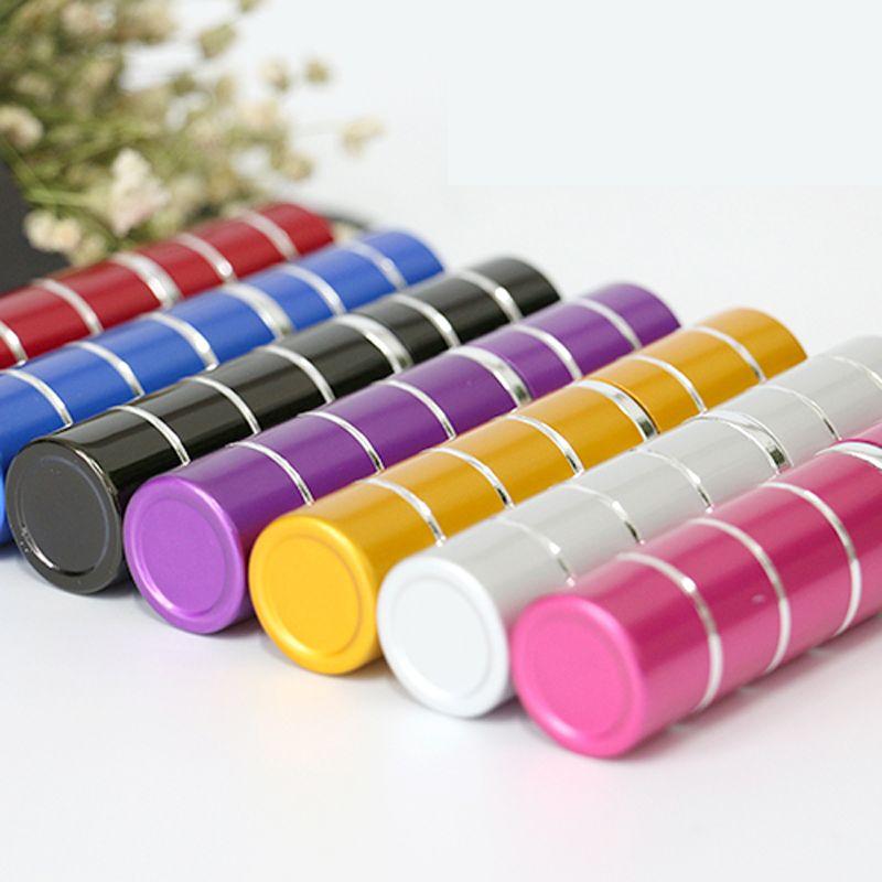 Lijn 5 ml aluminium parfumfles reizen navulbare flessen met spray lege schattige kleine kleine parfumfles aluminium mondstuk huisgeuren