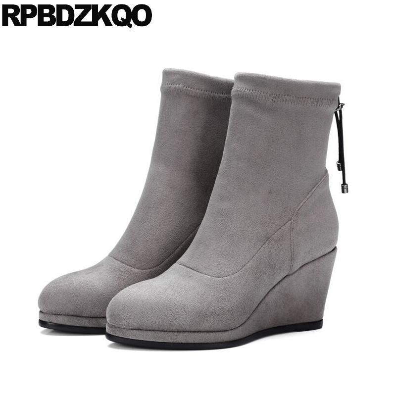 Womens Tassel Wedge Heels Ankle Boots Slip on Round Toe Casual Booties
