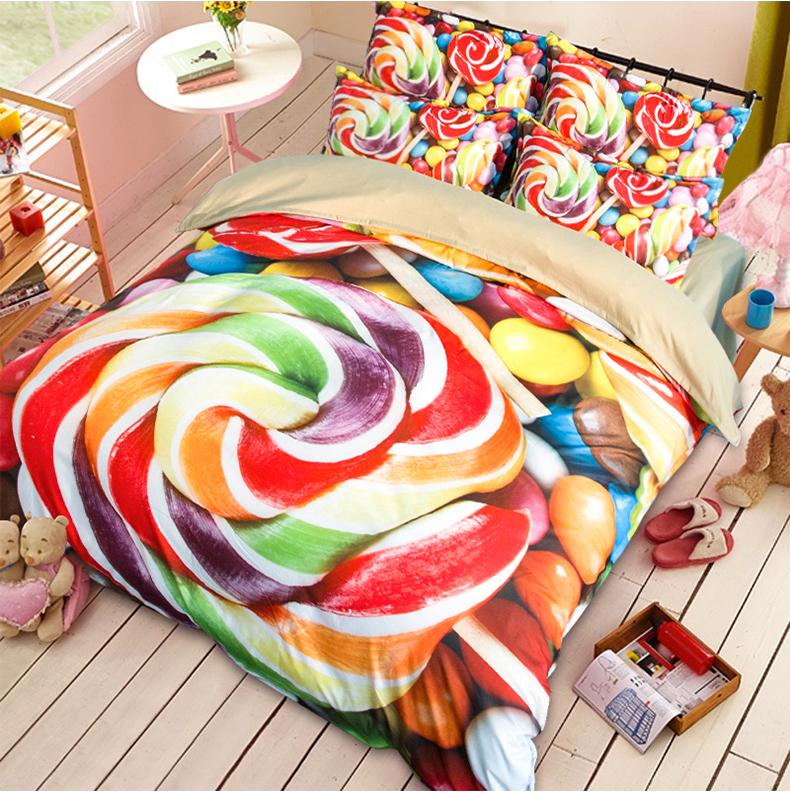 3D carttoon designs hometextile bed sheet four pieces bedding set queen size microfiber fabric with disperse printing good fastness 18009