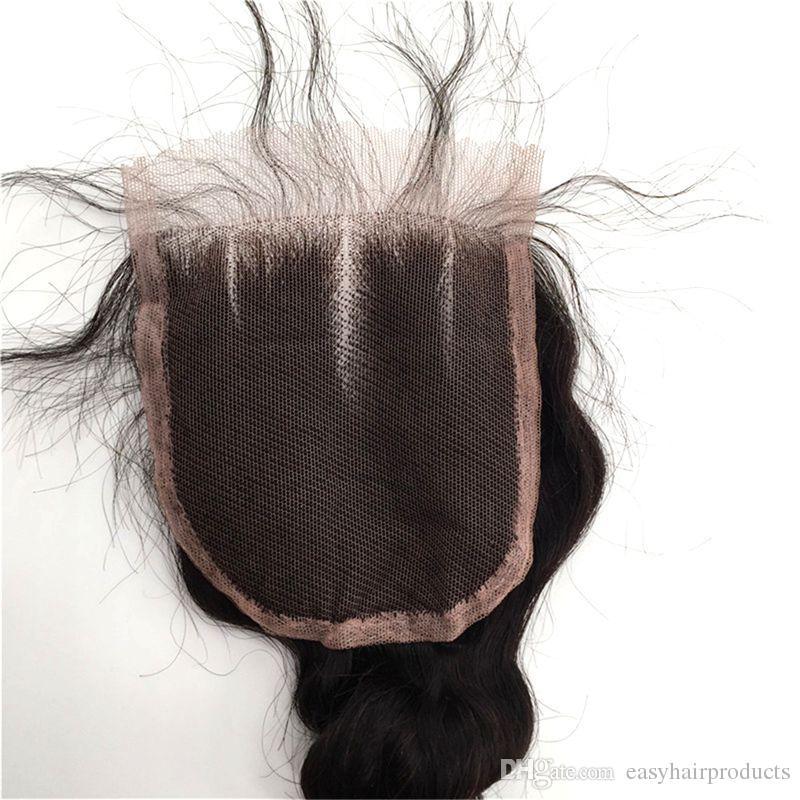 Unprocessed Human Hair Malaysian Loose Wave Virgin Hair Bundles With Lace Closure Natural Black Wavy Hair Weaves Closure