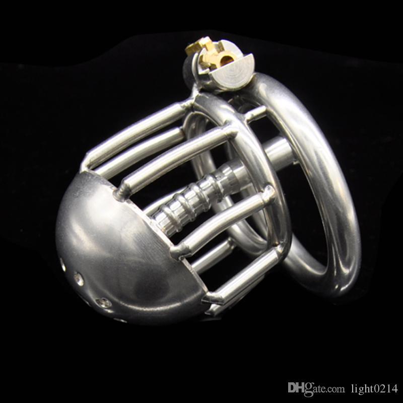 Dispositivo Bondage cazzo piccolo Gabbia in acciaio inox maschile castità di nuovo stile SM giocattolo dell'uomo con catetere uretrale brevi Gabbie Sex Toy G129