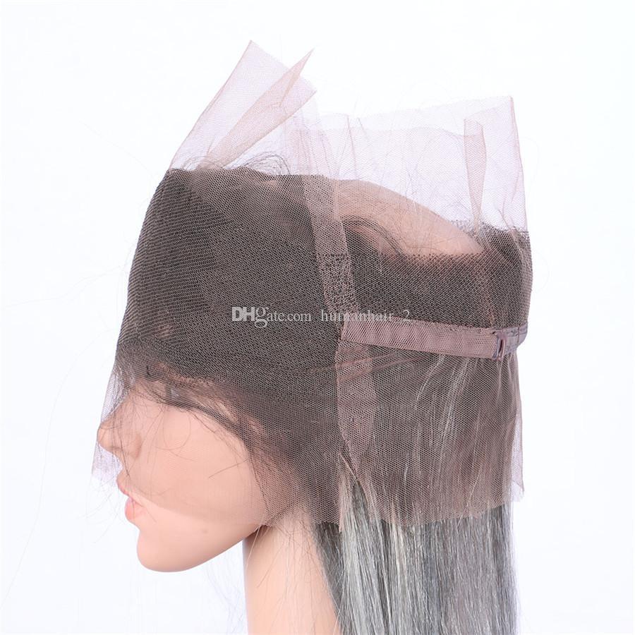 Chiusura frontale a due bande di pizzo a 360 toni con fasci di capelli vergini grigio chiaro 1B Ombre a onda con trama frontale 22.5x4x2 ''