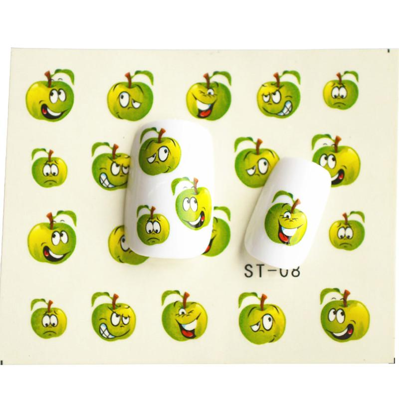 Wholesale 1 Sheet Funny Green Apple Water Transfer Foil Nail Art