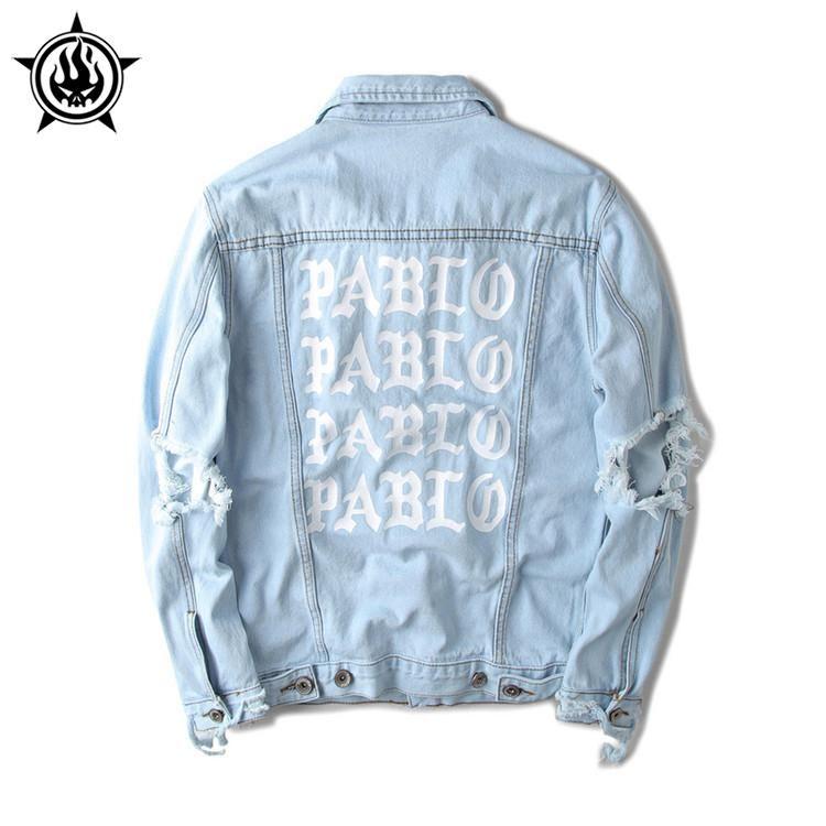 Wholesale Light Blue Denim Jacket Kanye West Pablo Album Souvenir ...