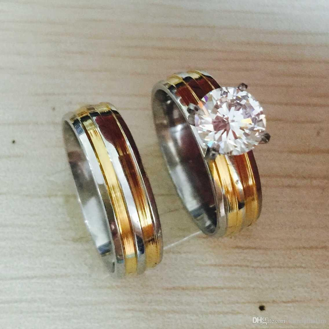 Gold Silver Plated Large Cz Diamond 6mm*2 Couples Rings Set For ...