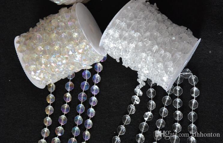 Atacado-30 Metros Diamante de Cristal Grânulos de Acrílico Rolo Pendurado Guirlanda Strand Aniversário Do Casamento Decoração de Natal DIY Cortina WT052
