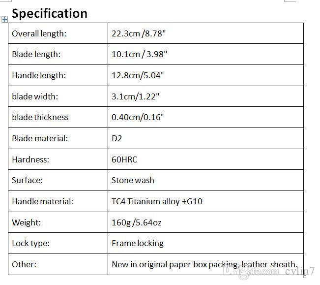 Offerta Speciale Russia D2 acciaio Flipper coltello pieghevole 60HRC Stonewash Finitura lama maniglia di titanio + G10 di sopravvivenza coltelli tattici EDC Strumenti
