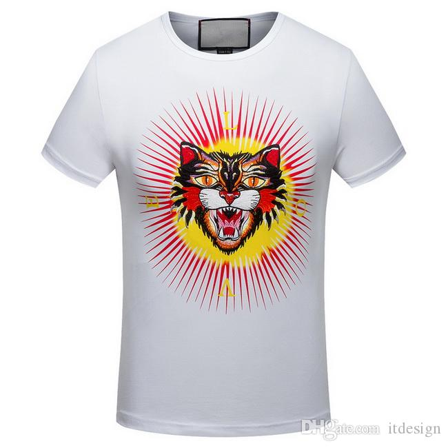 Hot Sale Embroidery Angry Cat Head Cotton Jersey Vintage Effect T-Shirt For Men Fashion Design Printed Letter On Back
