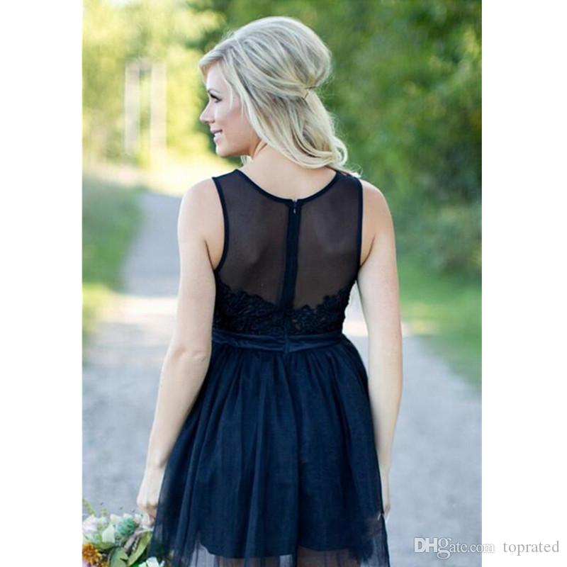 New Short Country Bridesmaid Dresses A Line Scoop Appliques Beaded Dark Navy Tulle Wedding Formal Wear Short Maid of Honor Party Gowns 2017