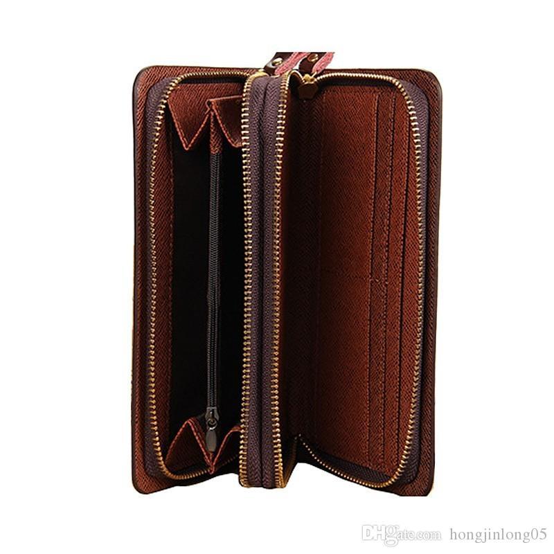 Nouveaux Hommes PU En Cuir Long Portefeuilles Multifonction Grande Capacité Zipper Hasp 2 Plis Titulaire de la Carte de Crédit Poignet Bourse D'Embrayage Portefeuille