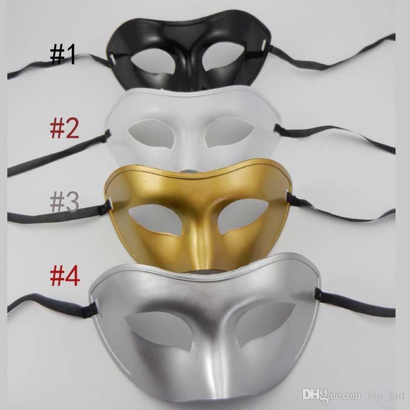 Masque de masques pour hommes Déguisements Masques vénitiens Masques de masques Masque en plastique à demi-visage en option multicolore noir, blanc, or, argent