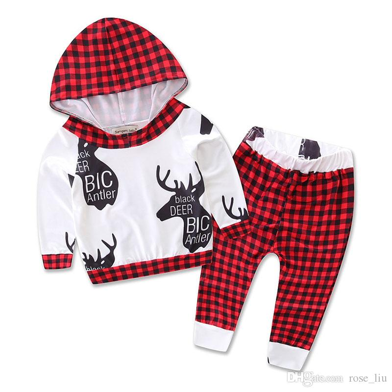 8 Styles Baby Christmas INS moose Print Outfit Autumn Winter Toddle Cute set Long Sleeve Hooded deer pattern Tops+Pants Sets B