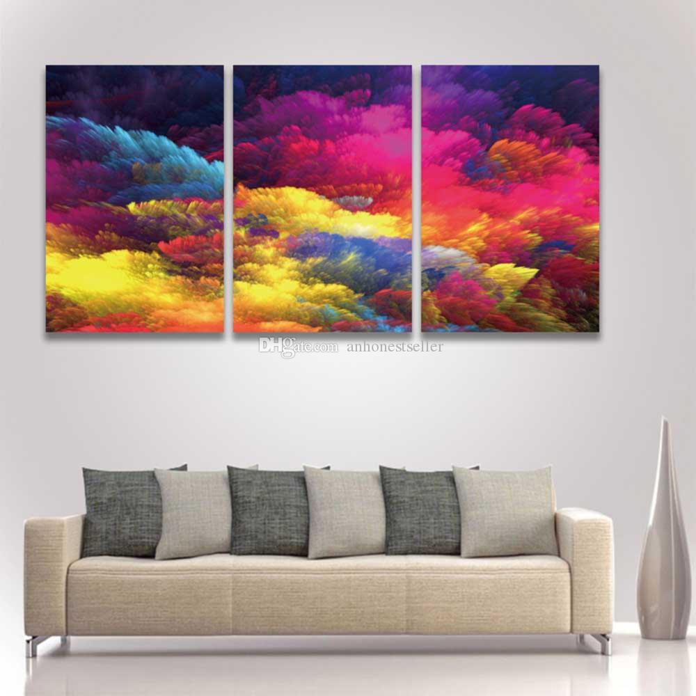 3 Panel Canvas Wall Art Picture Abstract Colorful Painting for Home Decor Decorate Living Room Artistic Artwork Large Prints